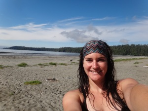 Enjoying a swim in Pachena Bay.